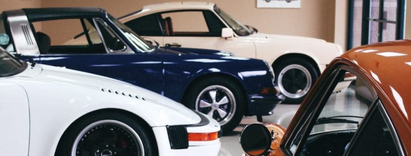 Porsches in showroom